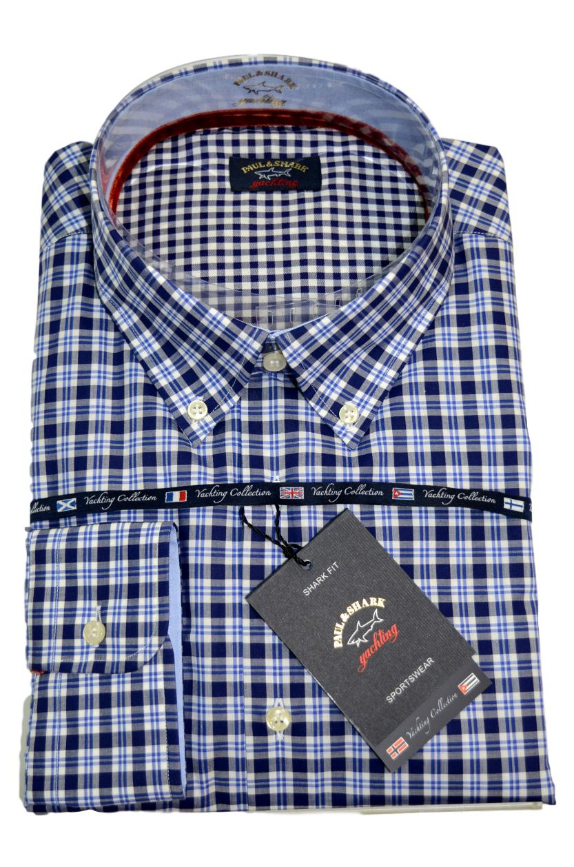 Paul Shark Camicia Uomo Botton Down Slim Fit I15P1301SF Col. 180 Quadro