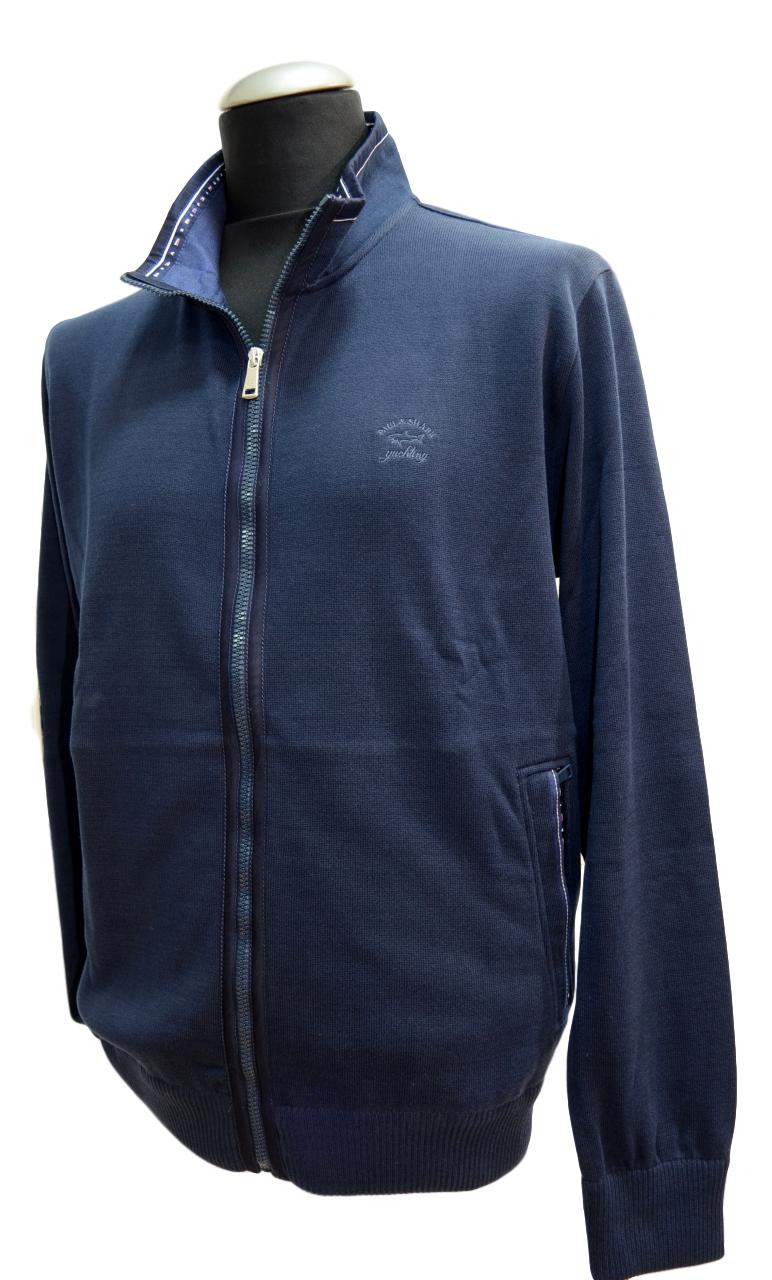 PAUL SHARK YACHTING CARDIGAN ZIP P17P1810SF SLIM FIT COL. 013 BLU COTONE