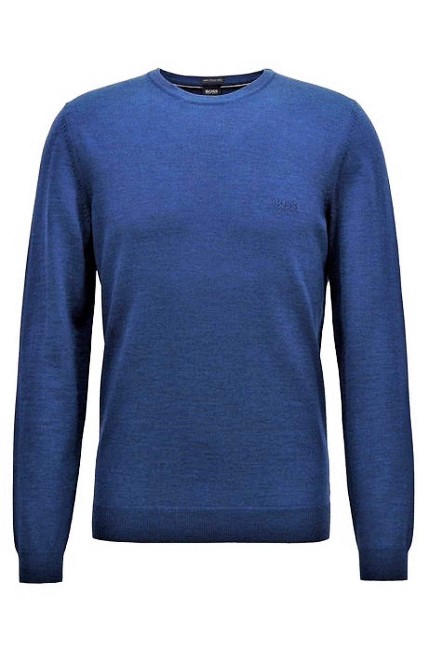 UGO BOSS Maglione girocollo jersey di lana vergine Modello Botto-L 50373739 NERO