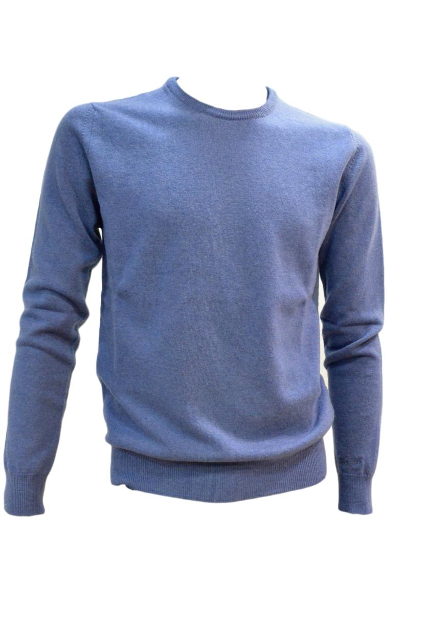 WOOLRICH MAGLIA UOMO WOMAG1737 Supergeelong Crew Neck CELESTE POLVERE