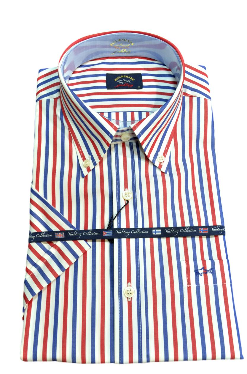 Paul Shark Camicia Uomo Mezza Manica Botton Down E19P3003 Multicolor