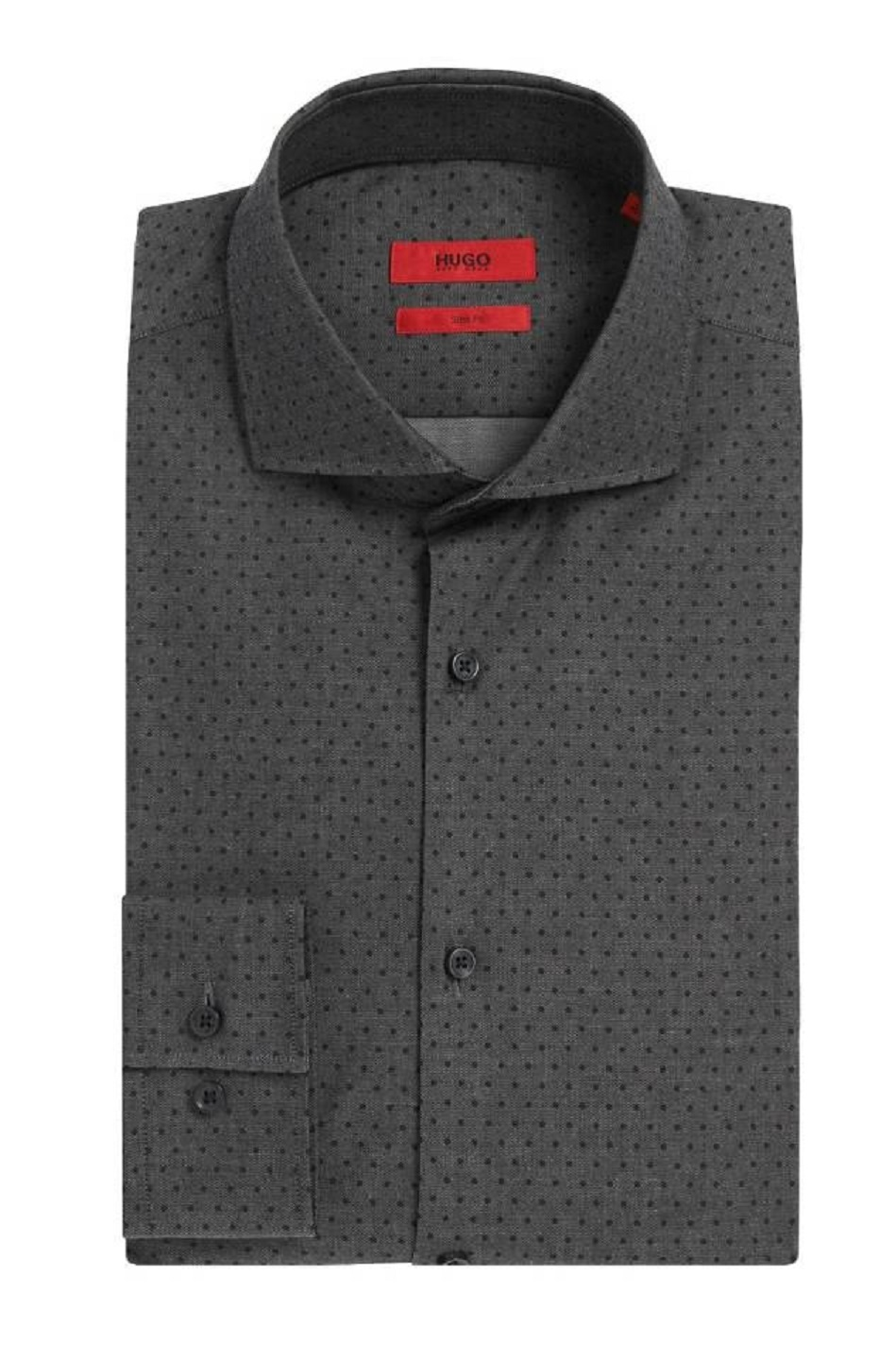 HUGO BOSS Camicia slim fit in cotone elasticizzato a pois C-Jason by HUGO