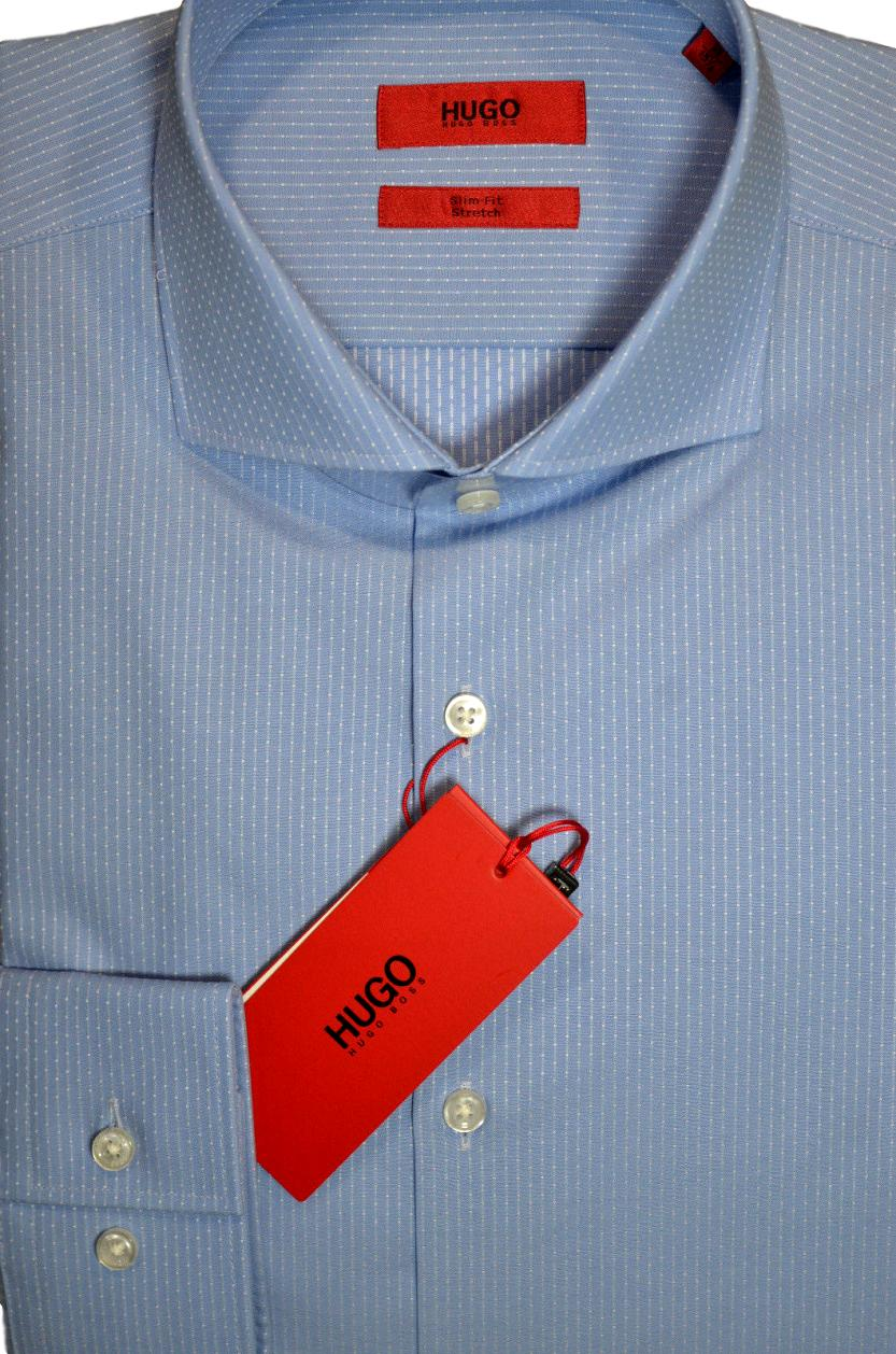 HUGO BOSS Camicia slim fit con motivo a righe: celeste c-jason - 50373322
