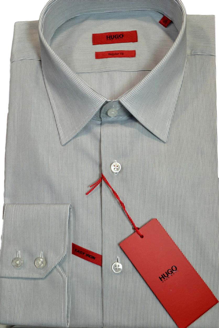 HUGO BOSS Camicia a righe REGULAR FIT in cotone: 'C-Enzo' GRIGIO 413 by HUGO