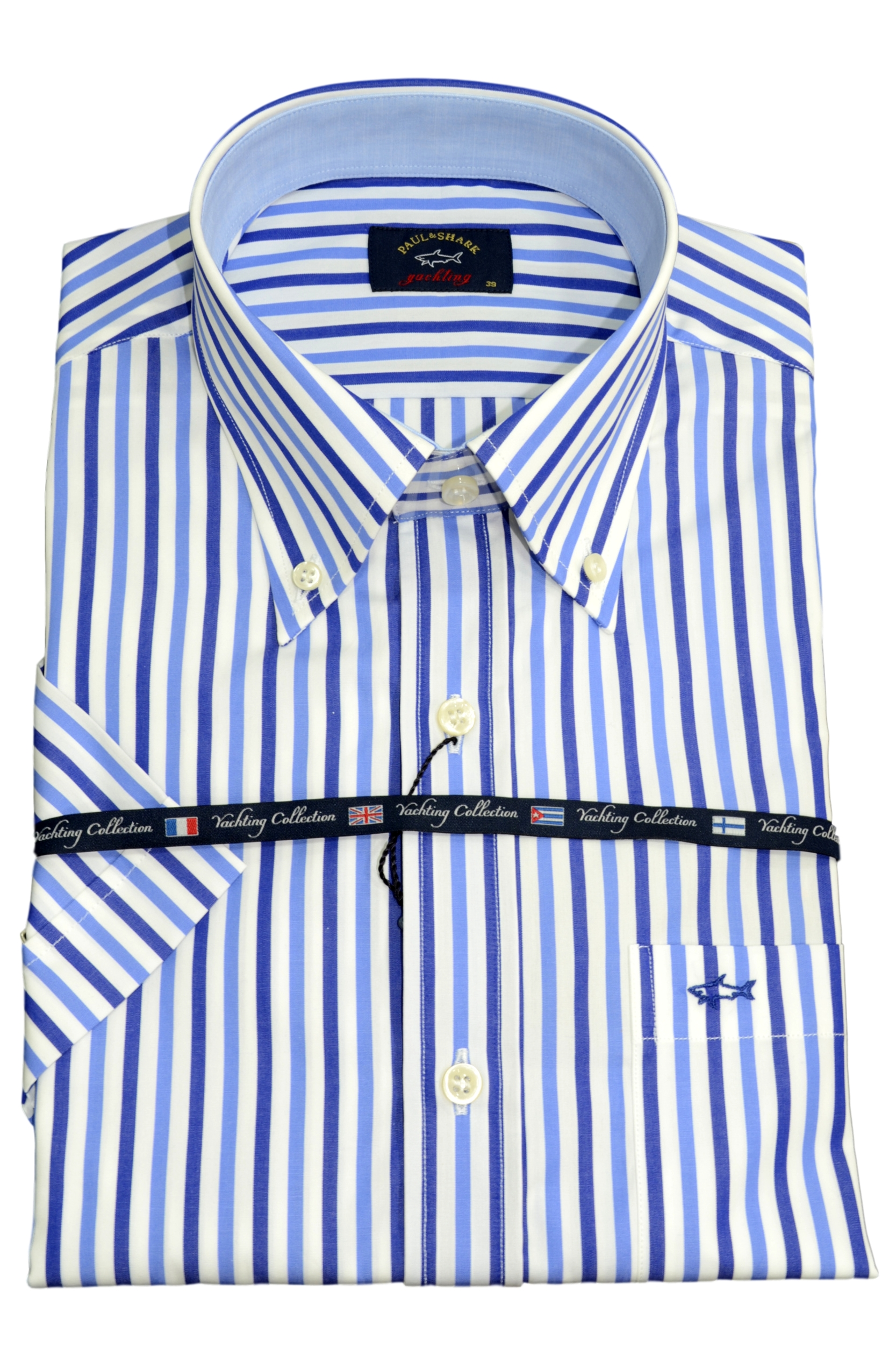 Paul Shark Camicia Uomo Mezza Manica Botton Down con taschino E19P3003