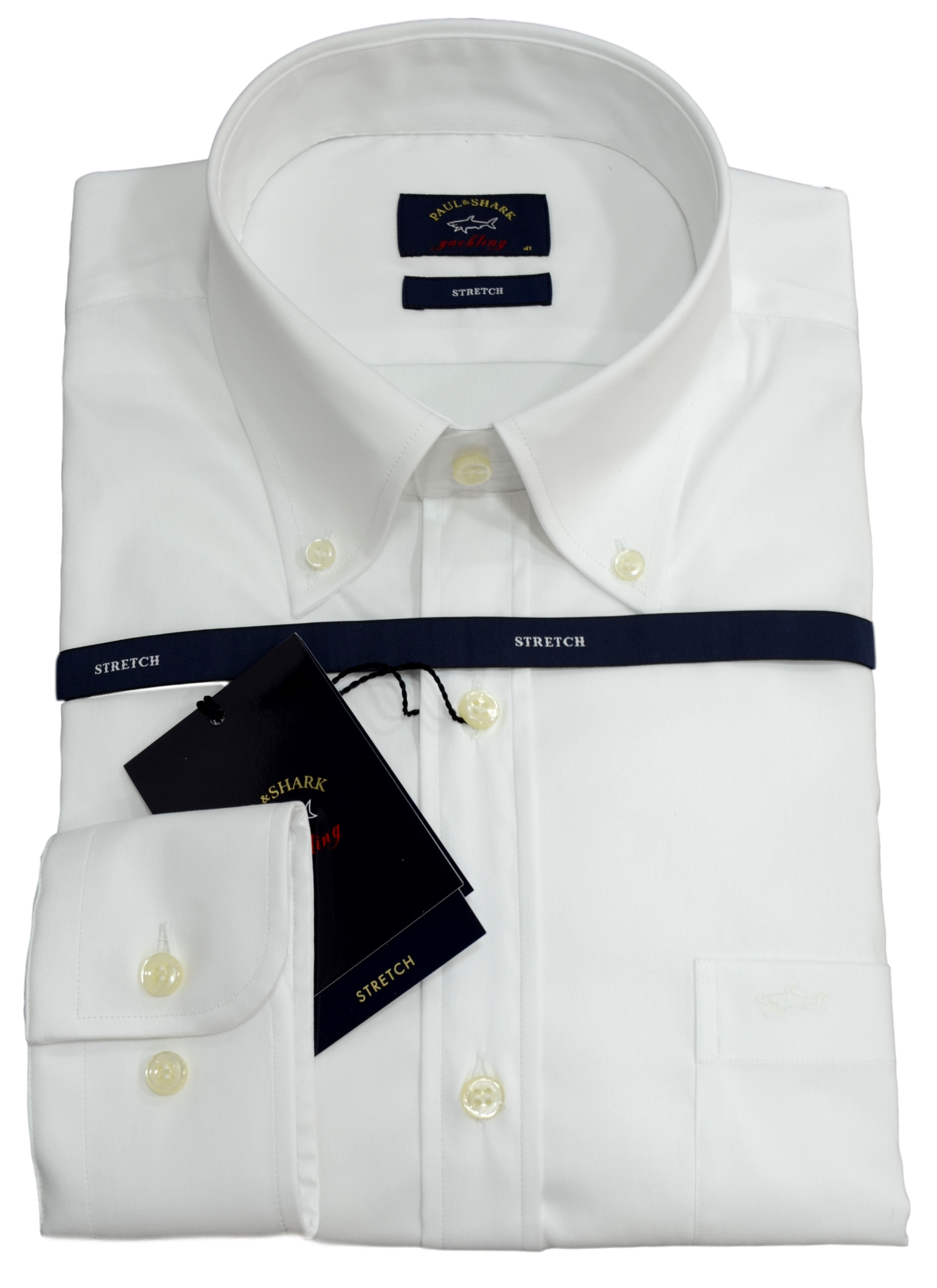 Paul Shark Camicia Uomo Stretch Botton Down P19P3288 Colore Bianco