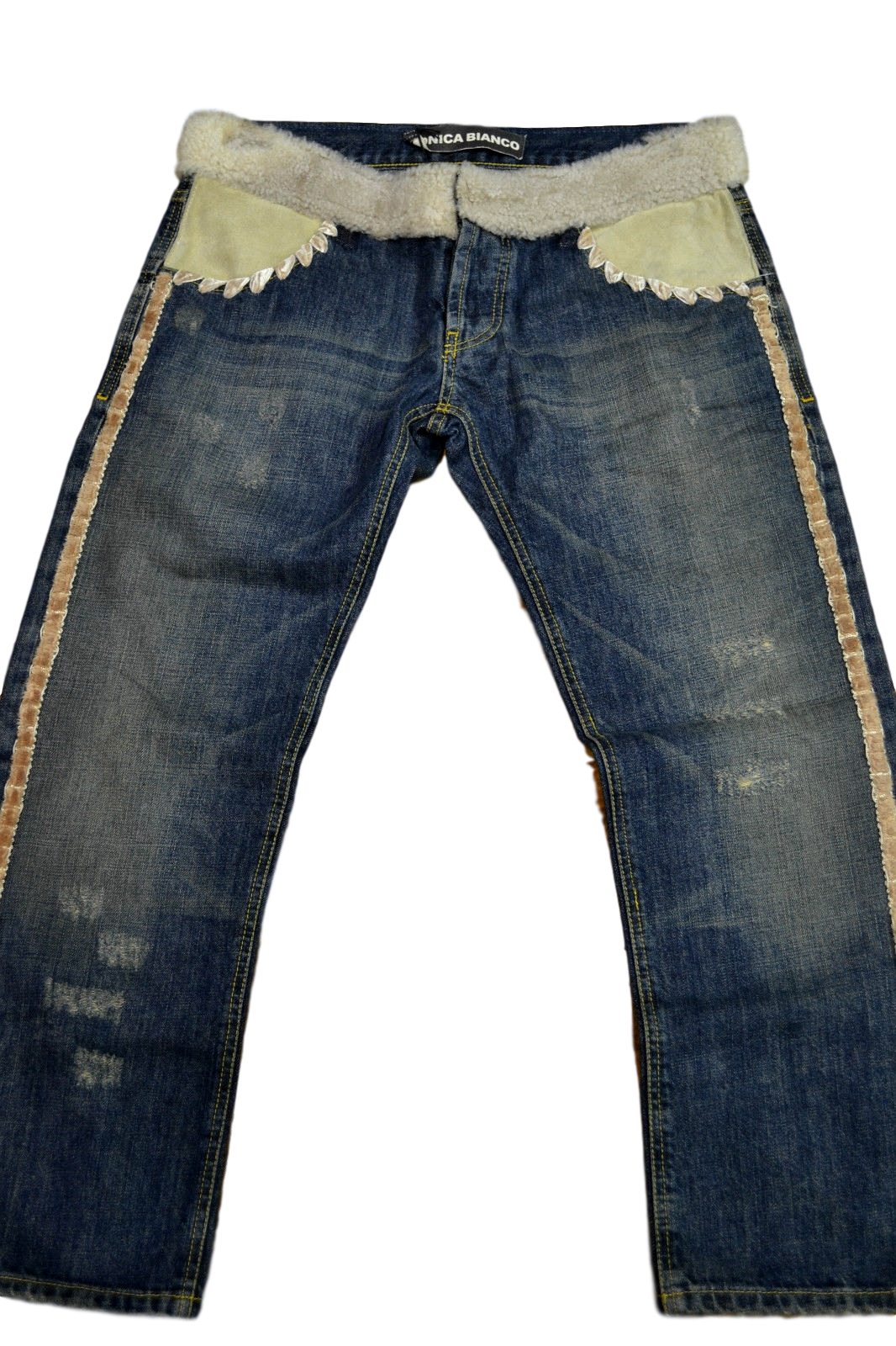 check out d348d 24acf JEANS DONNA CON APPLICAZIONI IN PELLICCIA TG. SIZE 26 JEANS WITH FUR DETAILS