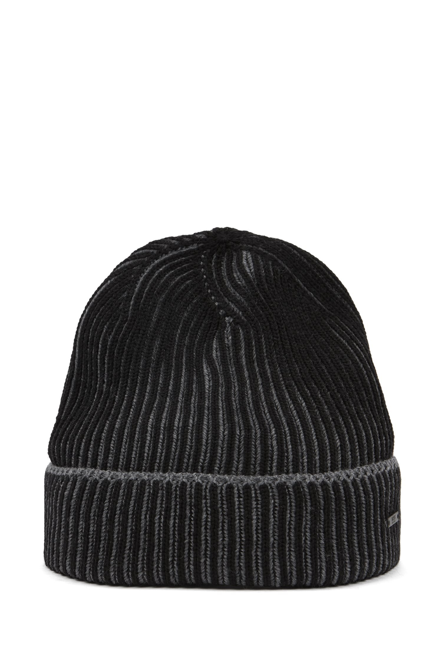 HUGO BOSS Cappello in lana vergine bicolore BLACK Ebalerio - 50392074