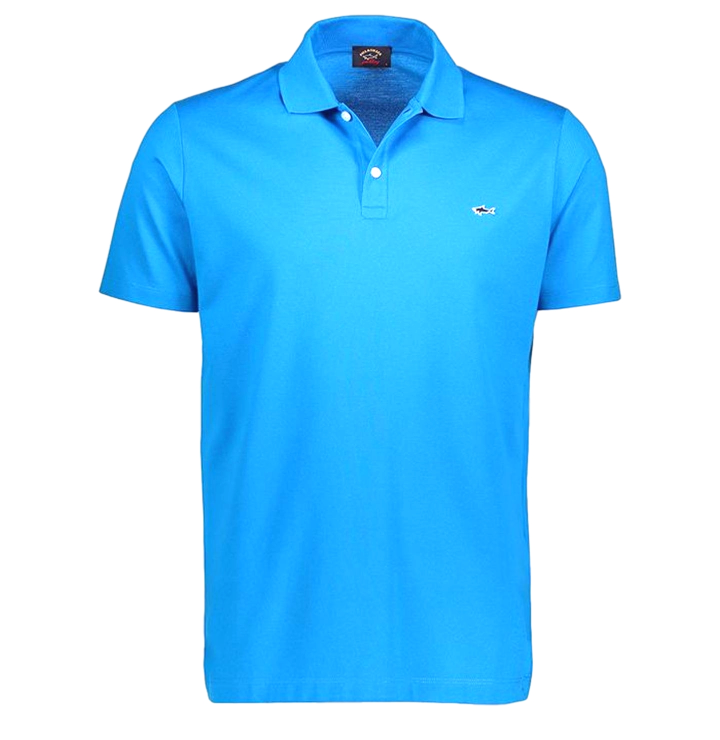 PAUL SHARK Polo cop1013 in cotone organico pique con shark badge colore azzurro