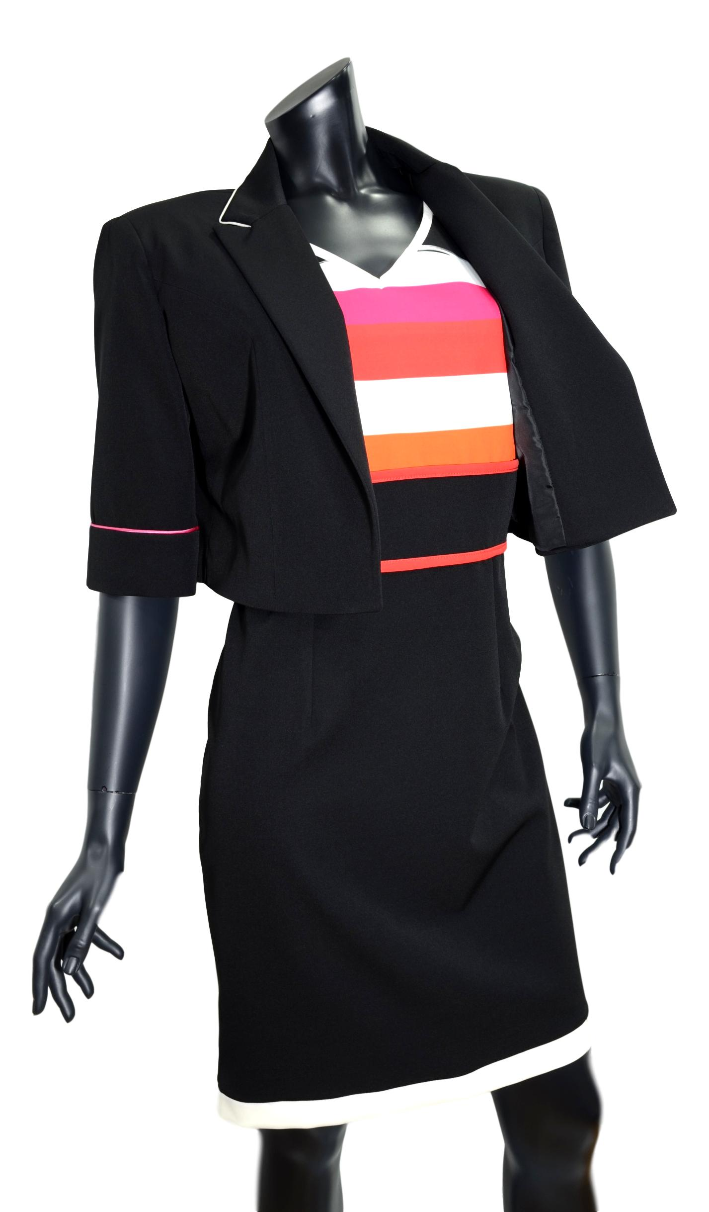 LISA KOTT ABITO CON GIACCA DONNA CURVY STYLE 7123 NERO MADE IN ITALY