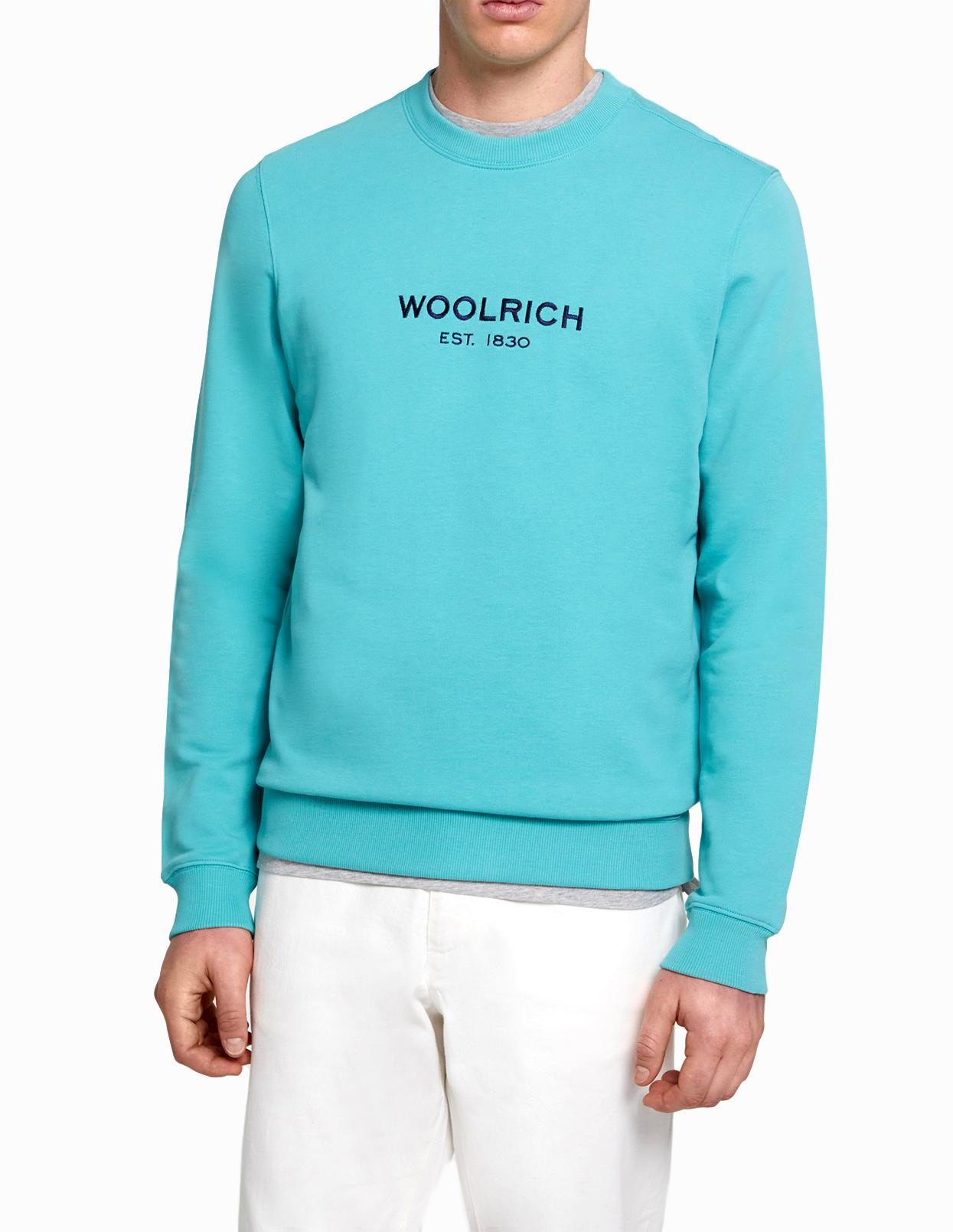 WOOLRICH FELPA UOMO Men's Luxury Light Crew Neck Cotton Colore: WATER GREEN