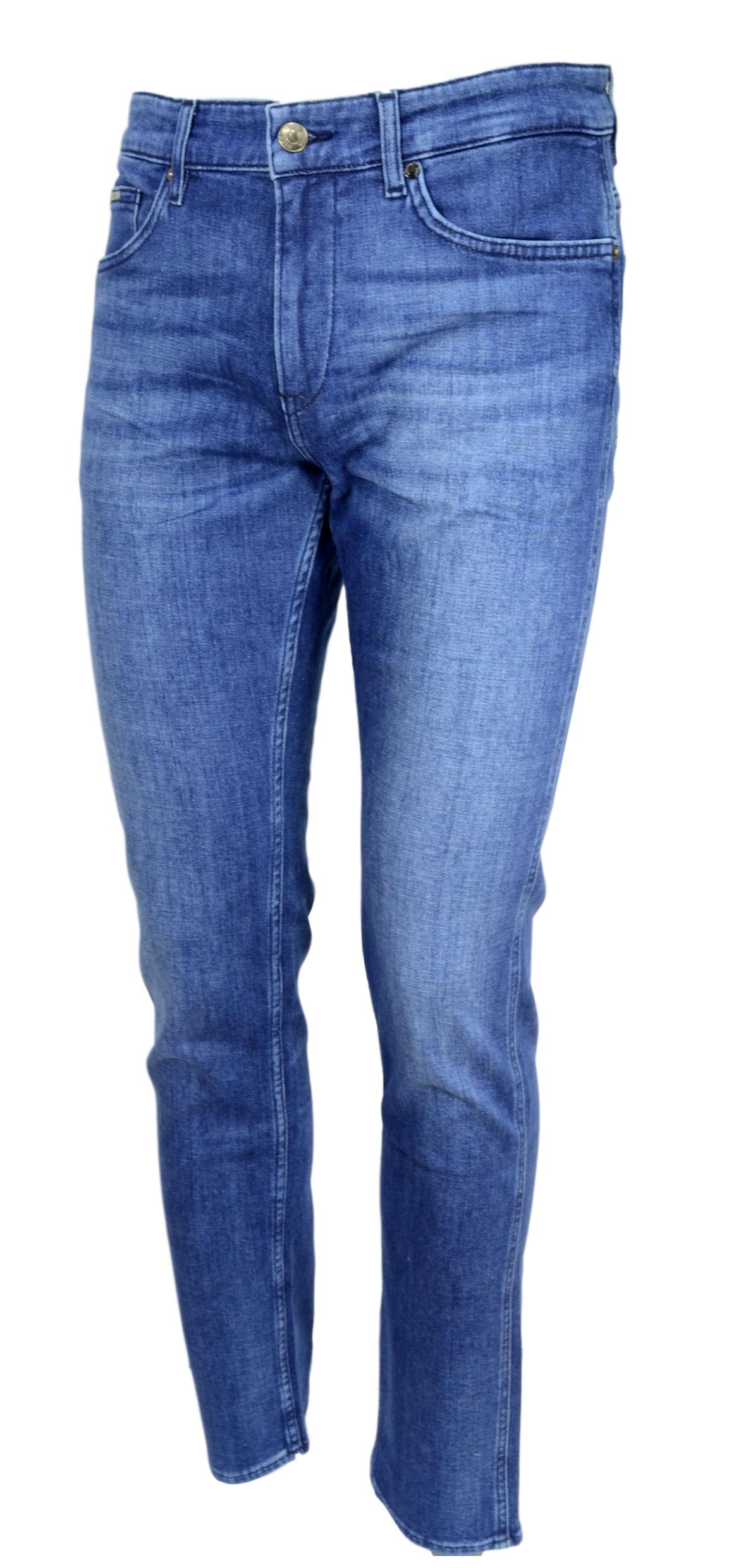 HUGO BOSS Jeans slim fit in denim italiano blu scuro Modello Delaware3 50438747
