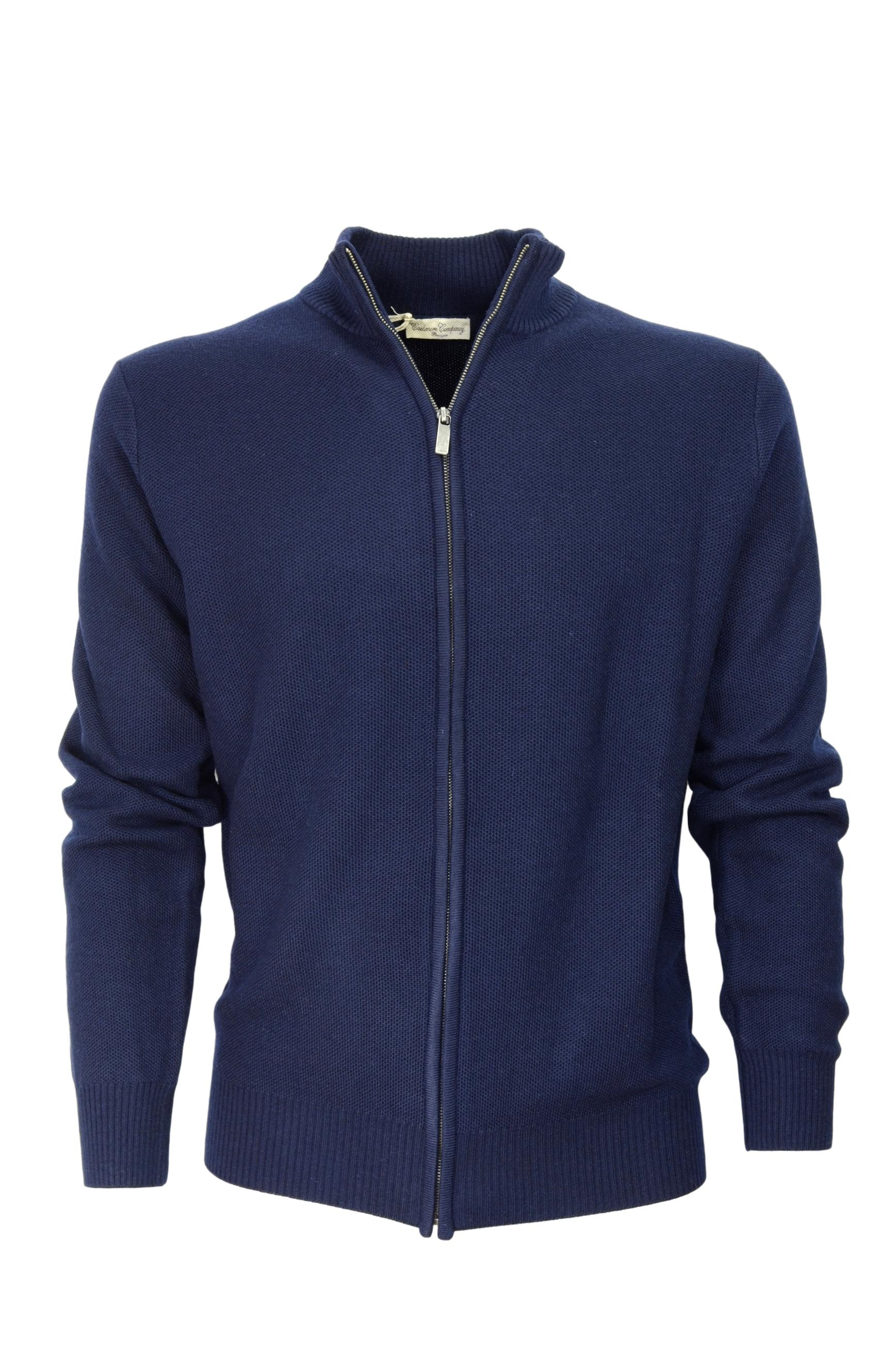 CASHMERE COMPANY CARDIGAN ZIP 410 BLU MADE IN ITALY CASHMERE E LANA