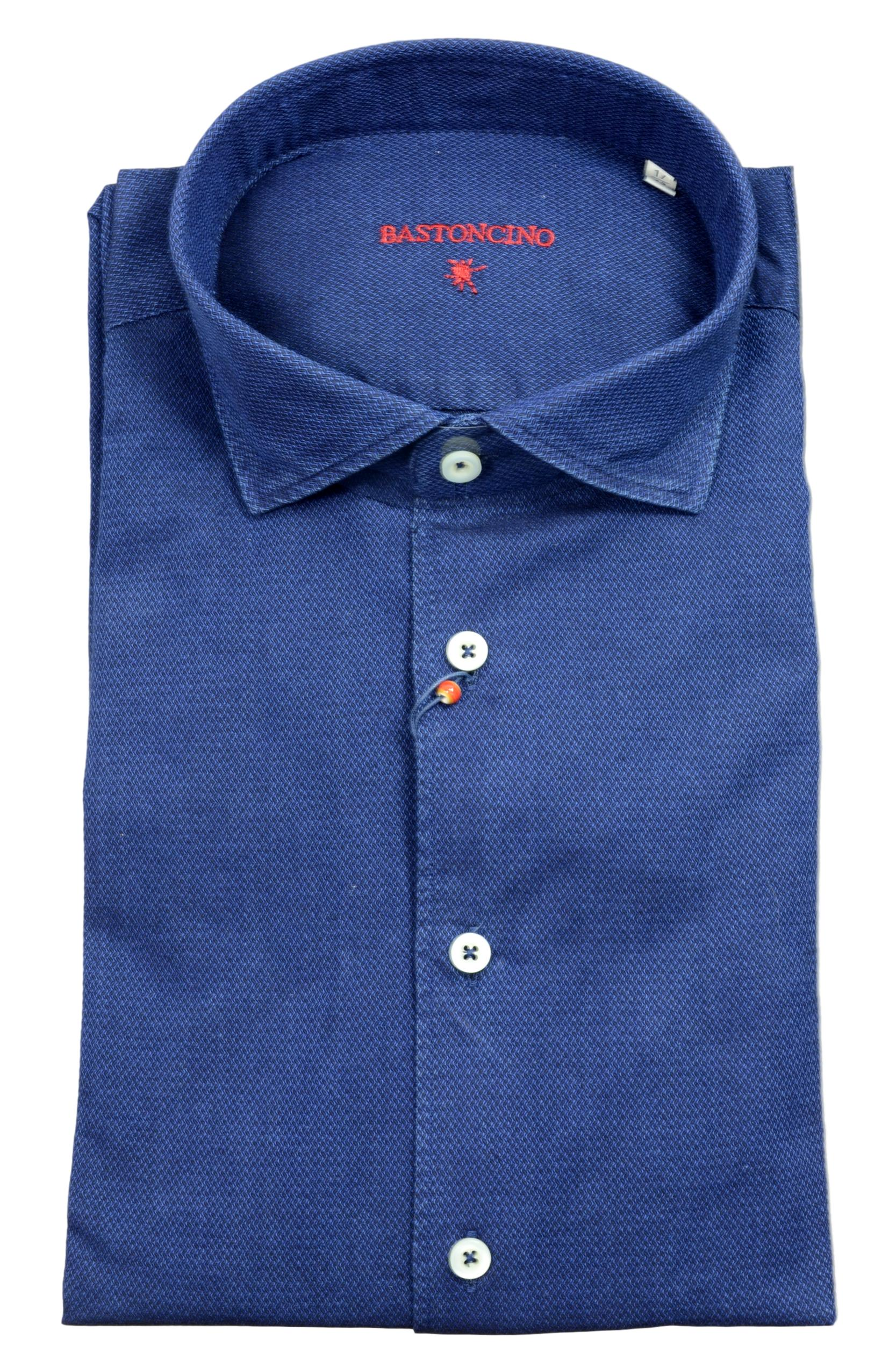 BASTONCINO CAMICIA UOMO SLIM FIT WASHED B1750 BLU FATTA IN ITALIA