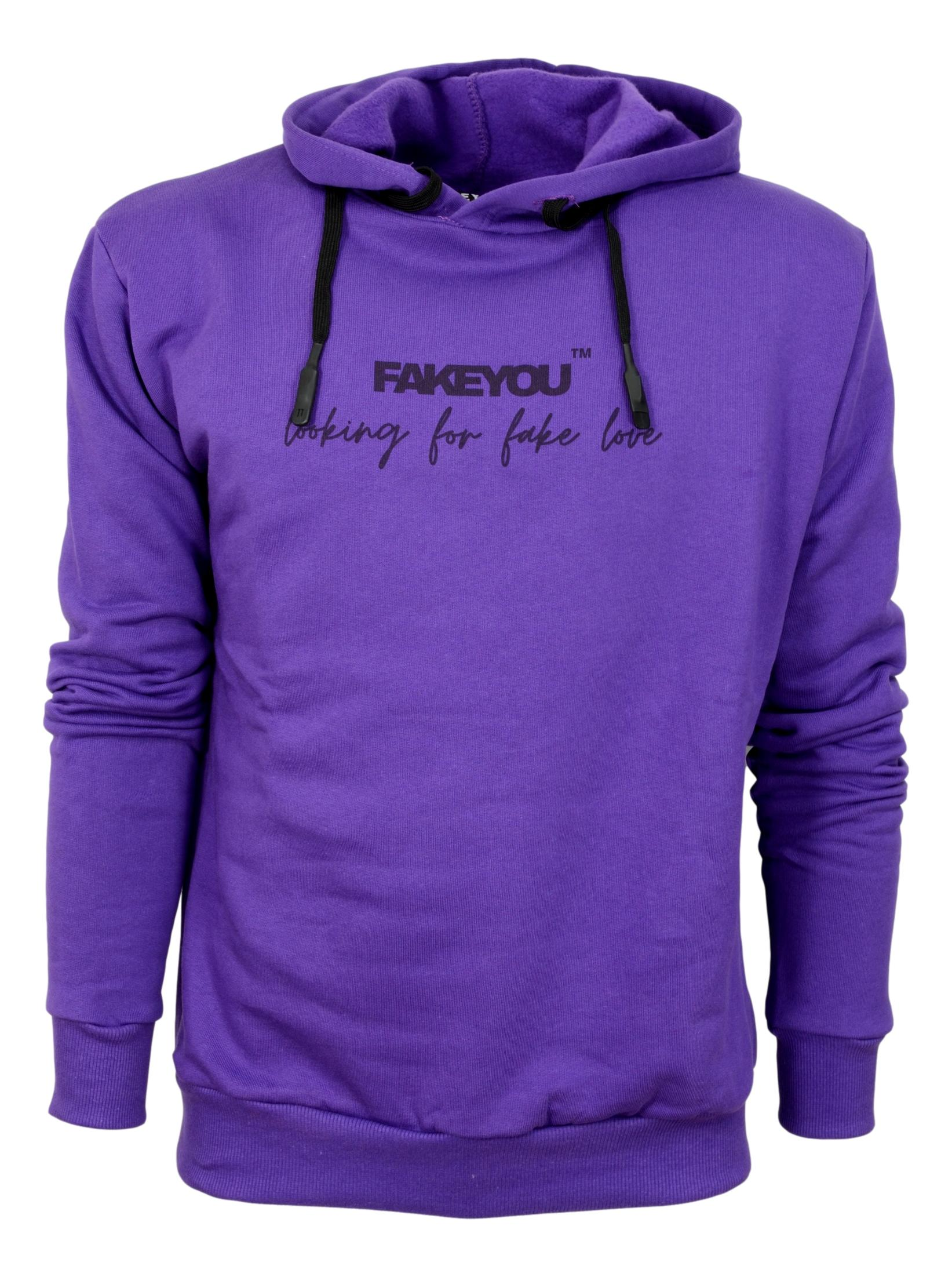 FAKEYOU FELPA CON CAPPUCCIO UNISEX PURPLE1 LOOKING FOR FAKE LOVE MADE IN ITALY