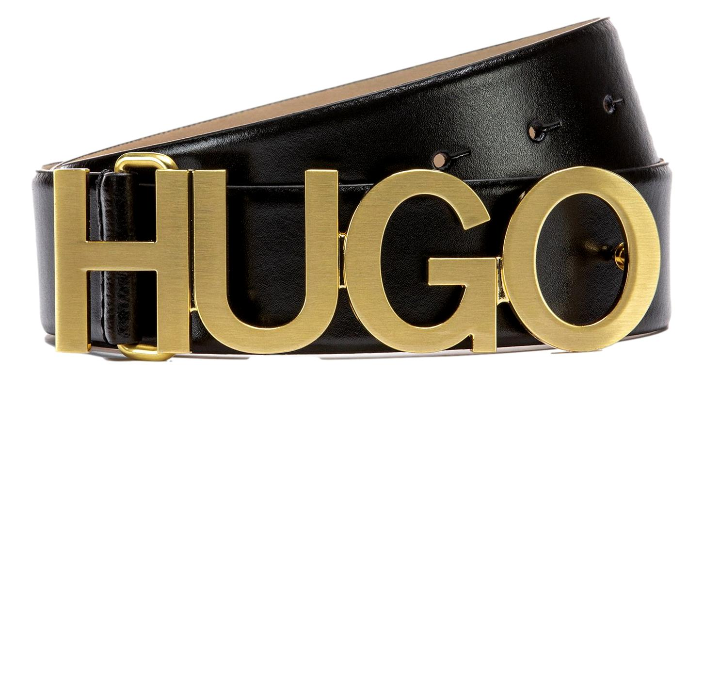 HUGO BOSS Cintura in pelle con logo color ORO Modello Zula Belt 4 cmZL 50391327