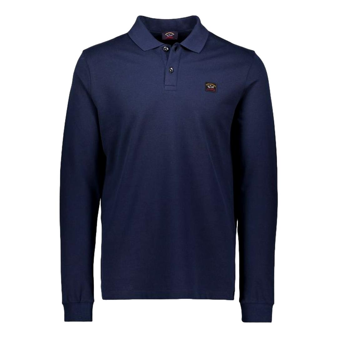 PAUL SHARK Polo in cotone pique organico manica lunga COLORE BLU COP1001