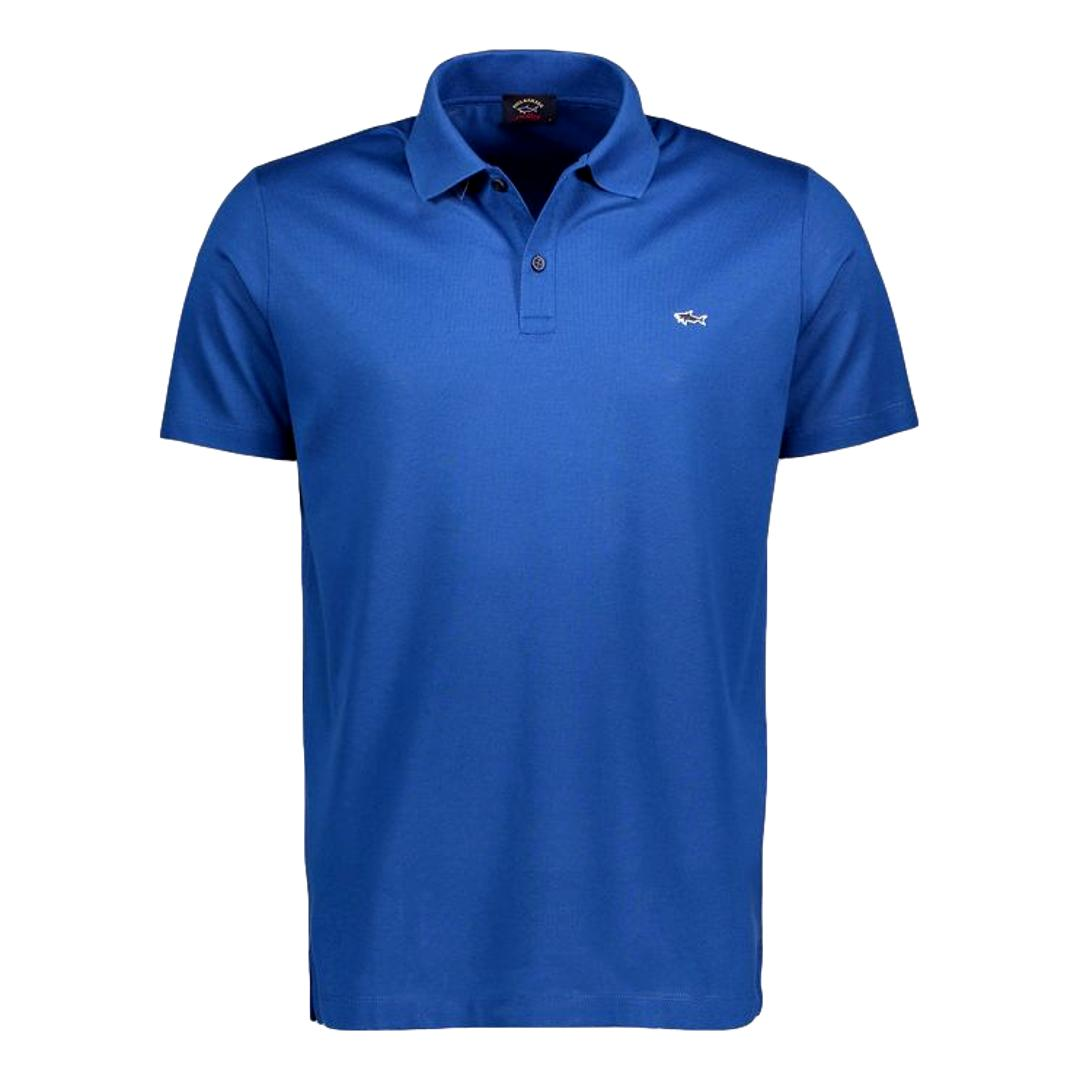 PAUL SHARK Polo in cotone organico pique con shark badge BLU COBALTO COP1013