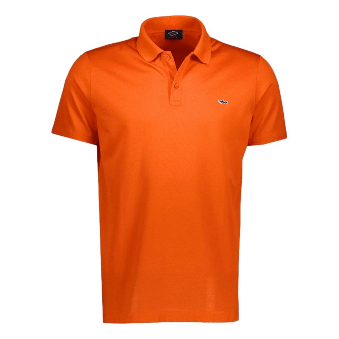 PAUL SHARK Polo in cotone organico pique con shark badge COLORE ARANCIO COP1013