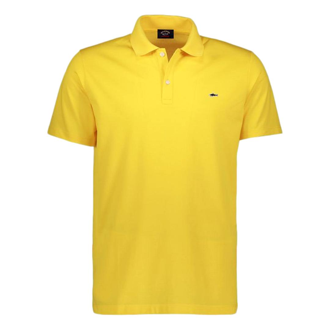 PAUL SHARK Polo in cotone organico pique con shark badge COLORE GIALLO COP1013