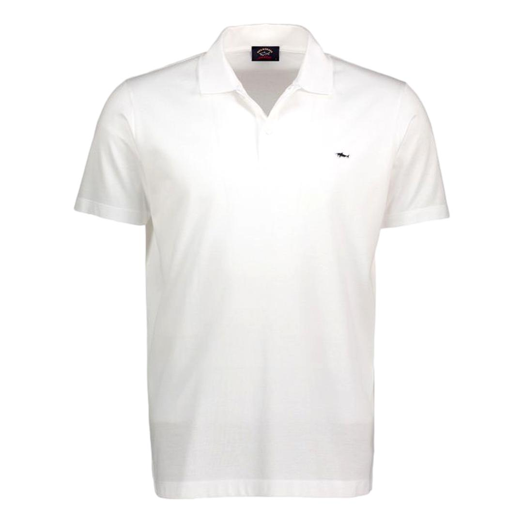 PAUL SHARK Polo in cotone organico pique con shark badge COLORE BIANCO COP1013