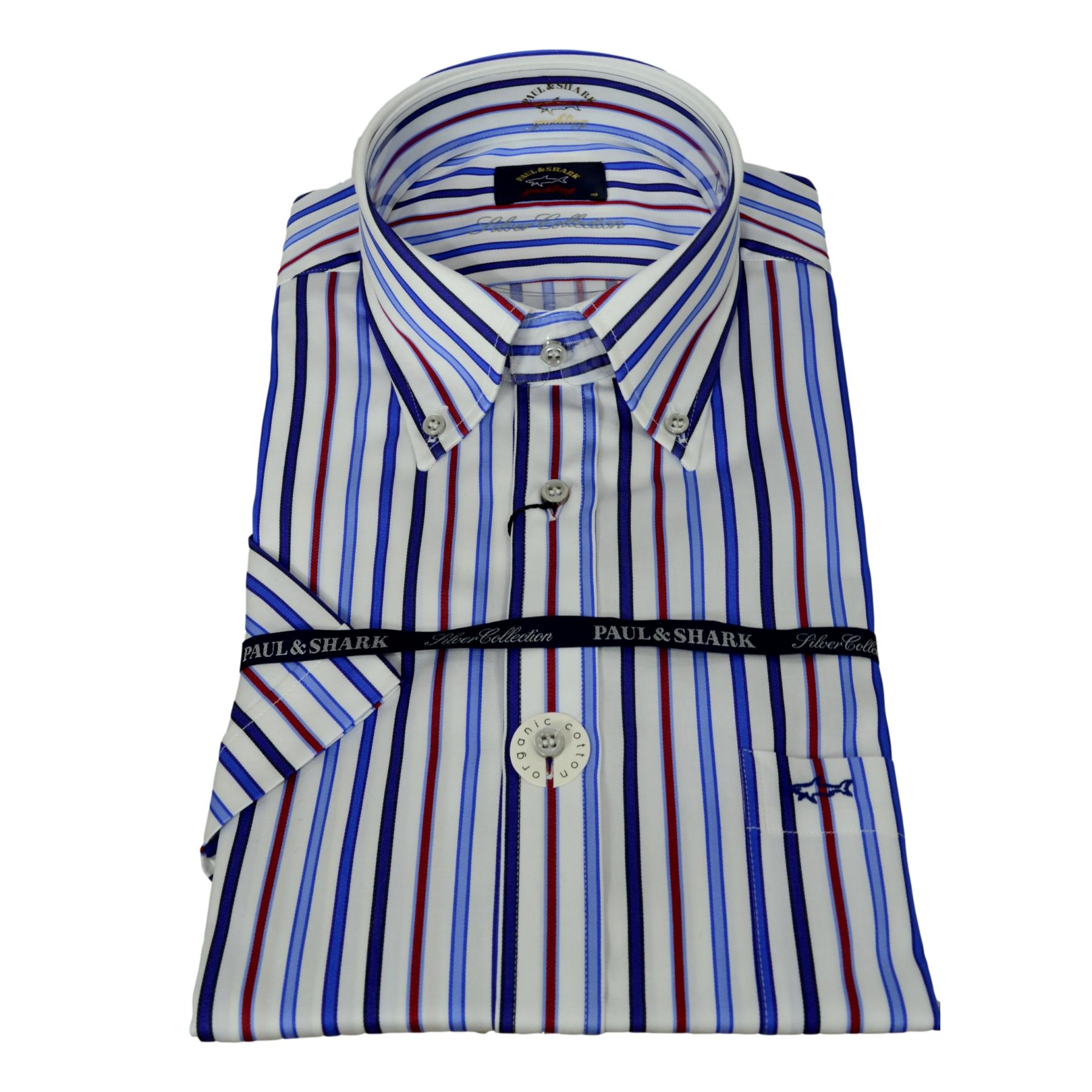 PAUL SHARK SILVER COLLECTION CAMICIA MANICA CORTA UOMO RIGATA BOTTON DOWN