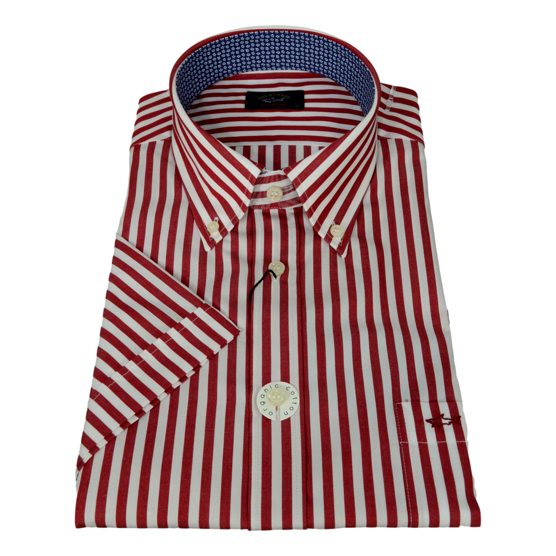 PAUL SHARK YACHTING COLLECTION CAMICIA MANICA CORTA UOMO RIGATA RED BOTTON DOWN