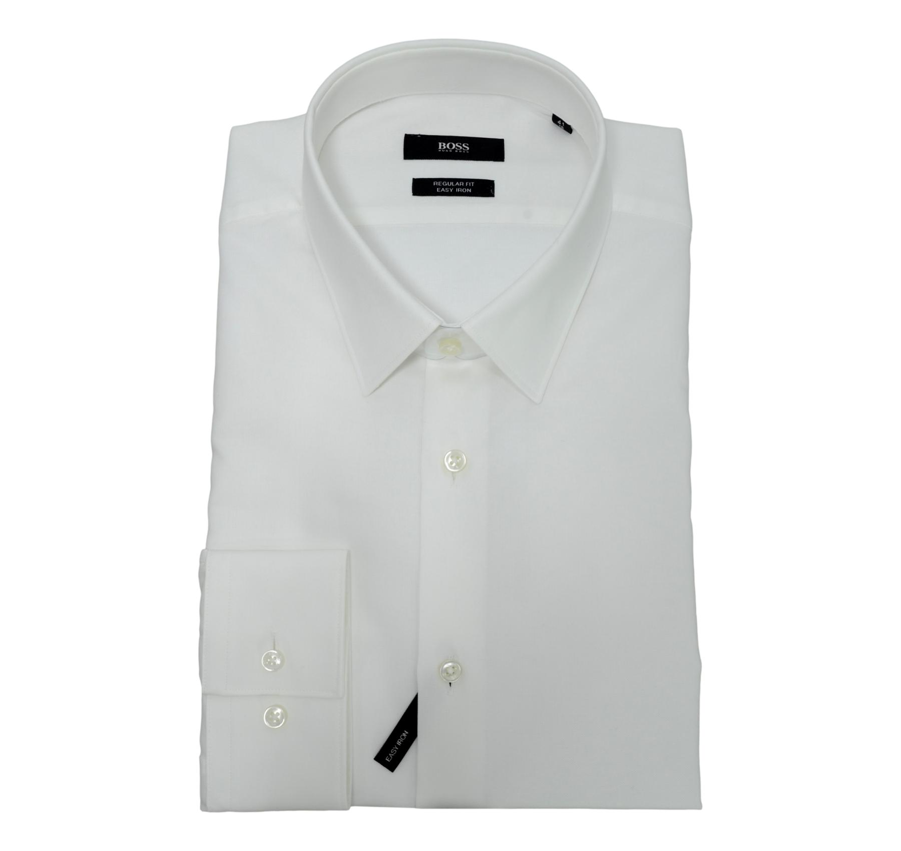 HUGO BOSS Camicia Regular Fit Cotone Facile stiro Mod. Eliott  50440439 Bianco