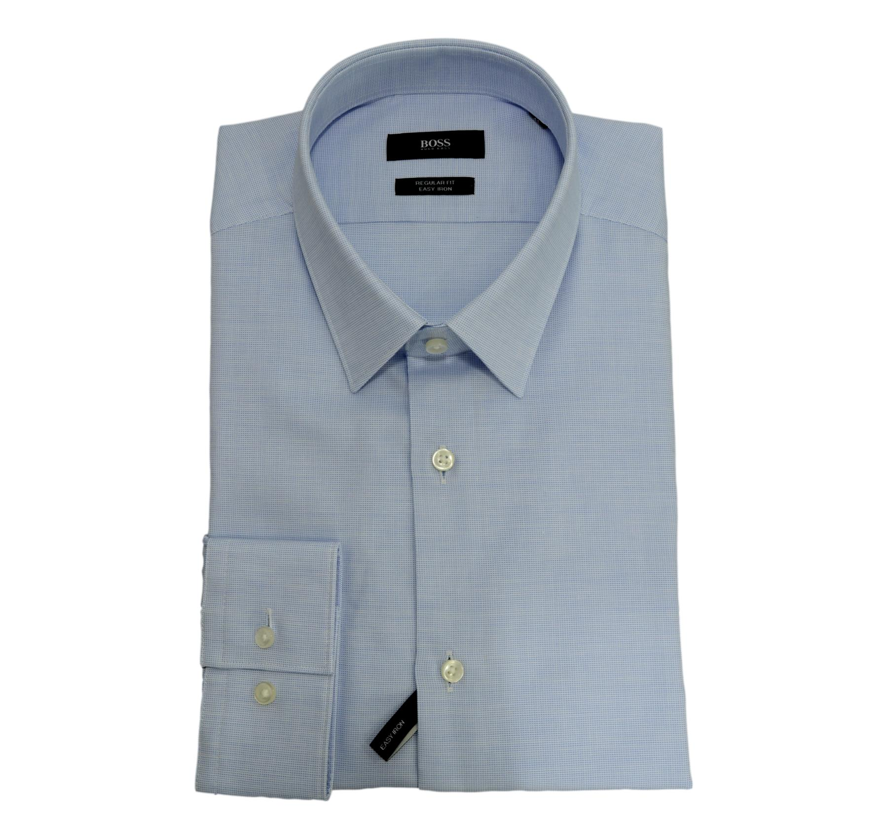 HUGO BOSS Camicia Regular Fit Cotone Facile stiro Mod. Eliott 50440439 Celeste