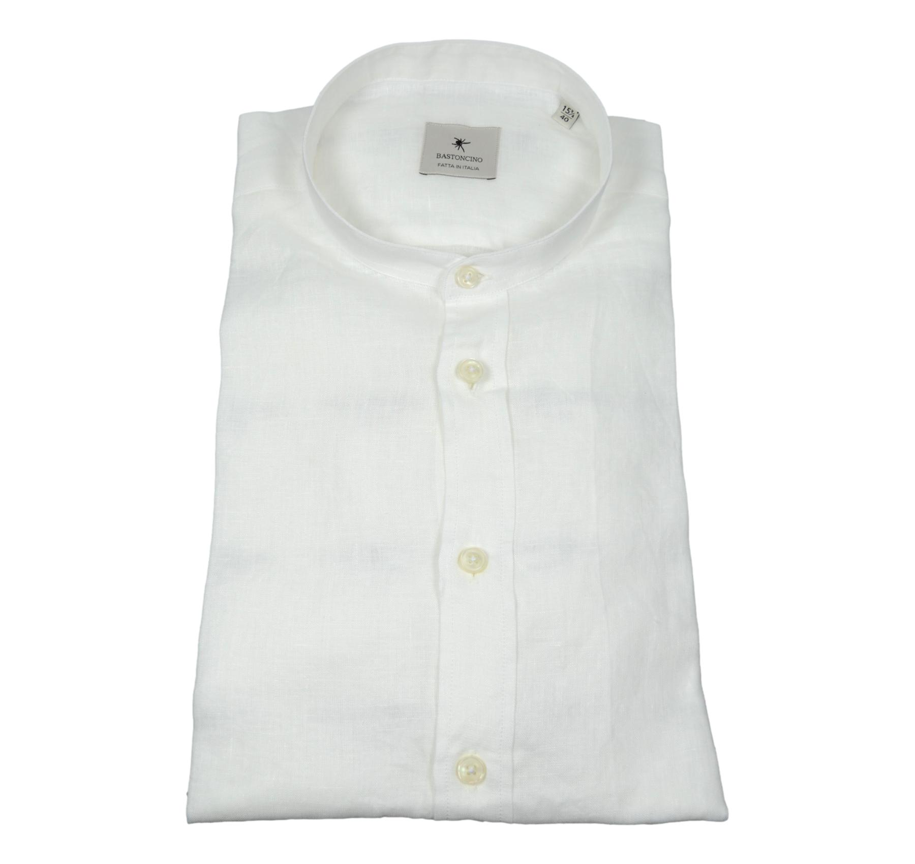 BASTONCINO CAMICIA UOMO SLIM FIT B050 PURO LINO BIANCO WASHED MADE IN ITALY
