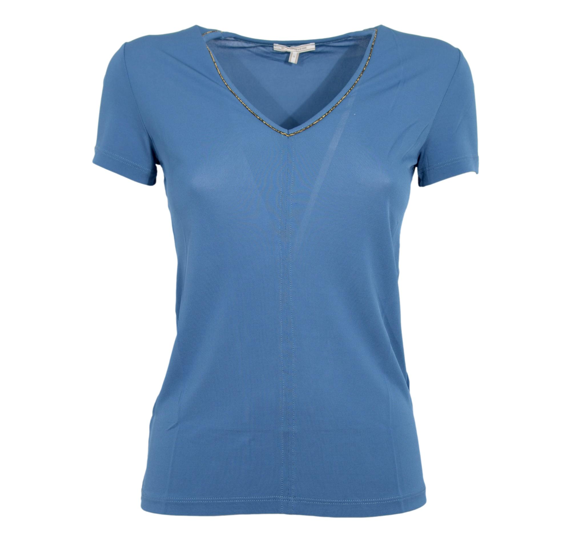 BORBONESE T SHIRT DONNA SCOLLO V ART.6DC334 BLUE NATURAL / EV