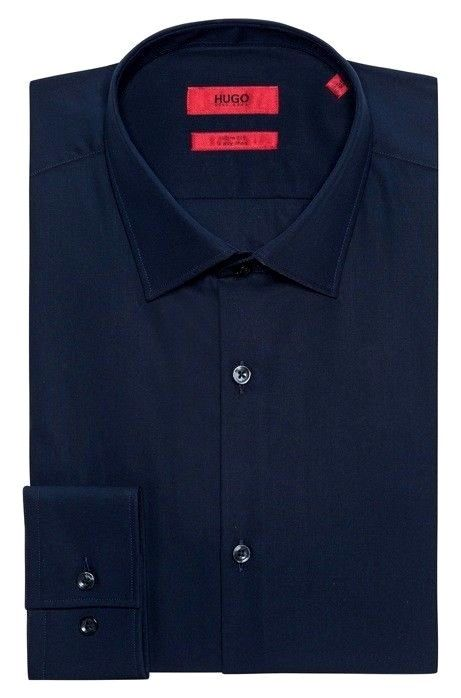 HUGO BOSS Camicia slim fit stretch tinta unita BLU C-Jenno' by HUGO 50382573