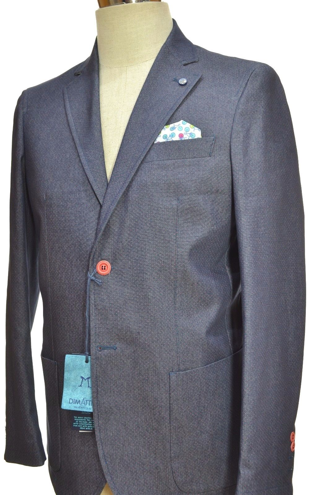 DIMATTIA GIACCA UOMO TG. 48 SLIM FIT PRINCE POIS MADE IN ITALY