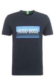 HUGO BOSS Maglietta T SHIRT in cotone regular fit con stampa: 'Tee 1' BLU