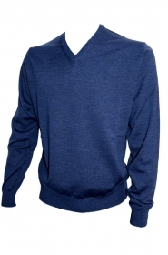 BRAMANTE PULL SCOLLO V MERINO TRIPLORITORTO REGULAR FIT SOTTOGIACCA 102001 BLUE