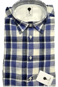 CAMICIA UOMO DE LAMP MOD, SLIM FIT  PURO LINO QUADRI SHIRT MADE IN ITALY 0787 03
