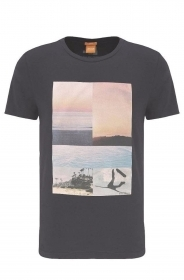 HUGO BOSS Maglietta T-shirt stampata in cotone Tacket 3 BLU SCURO 50332465