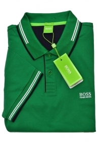 HUGO BOSS POLO slim fit Cotone elastic con dettagli a contrasto PAUL, VERDE