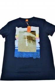HUGO BOSS Maglietta T SHIRT con stampa regular fit in cotone: 'Tintype 2'  BLU