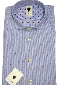DE LAMP CAMICIA UOMO MOD, SLIM FIT ART. 1941 MICRO FANTASIA AZZURR MADE IN ITALY