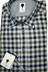 CAMICIA UOMO DE LAMP MOD, SLIM FIT QUADRO FLANELLA BLU mod. 1858 MADE IN ITALY