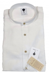 DE LAMP CAMICIA UOMO MOD, SLIM FIT ART. 3000 bianca PURO LINO MADE IN ITALY