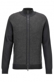 HUGO BOSS Cardigan regular fit con zip in lana merino Modello Elfonte - 50392076