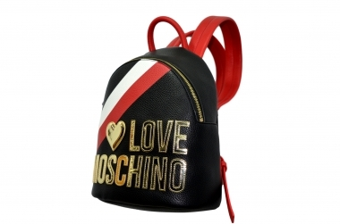 LOVE MOSCHINO P/E20 BORSA ZAINO PEBBLE PU MIX NERO ROSSO JC4286PP0AKP100A