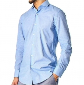 HUGO BOSS Camicia celeste slim fit a motivi Modello Jason - 50427751