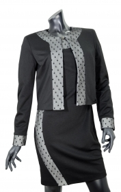 LISA KOTT ABITO CON GIACCA DONNA CURVY STYLE NERO BIANCO 4058 MADE IN ITALY
