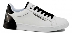 TRUSSARDI JEANS SNEAKERS LEATHER PRINTING WHITE BLACK 77A00240