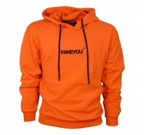 FAKEYOU FELPA CON CAPPUCCIO UNISEX ORANGE1 MADE WITH LOVE MADE IN ITALY