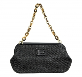 ERMANNO SCERVINO BORSA DONNA CLUTCH JENEESIS STRAW 12401182 COLOR BLACK