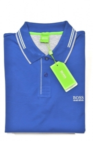 HUGO BOSS POLO slim fit Cotone elastic con dettagli a contrasto PAUL, OPEN BLUE